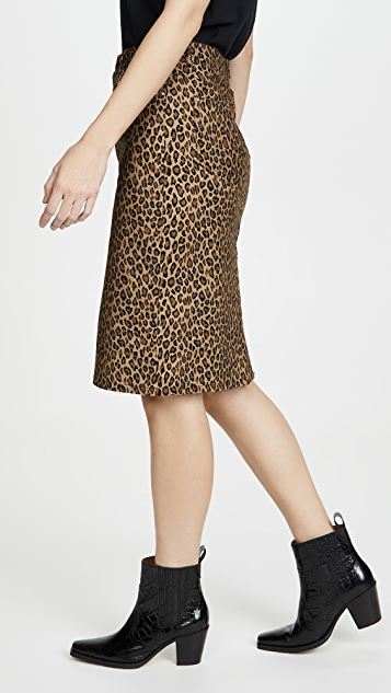 LES REVERIES 豹纹铅笔裙