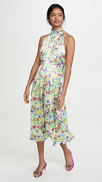 LES REVERIES Pleated Pussy Bow Maxi Dress