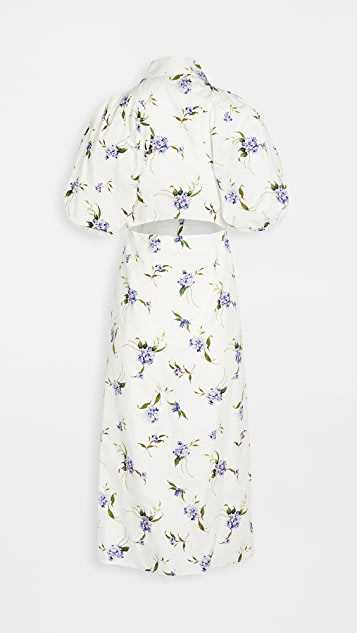 LES REVERIES Puff Sleeve Shirt Dress
