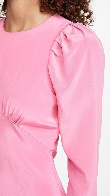 LES REVERIES 褶皱斜纹泡泡袖连衣裙