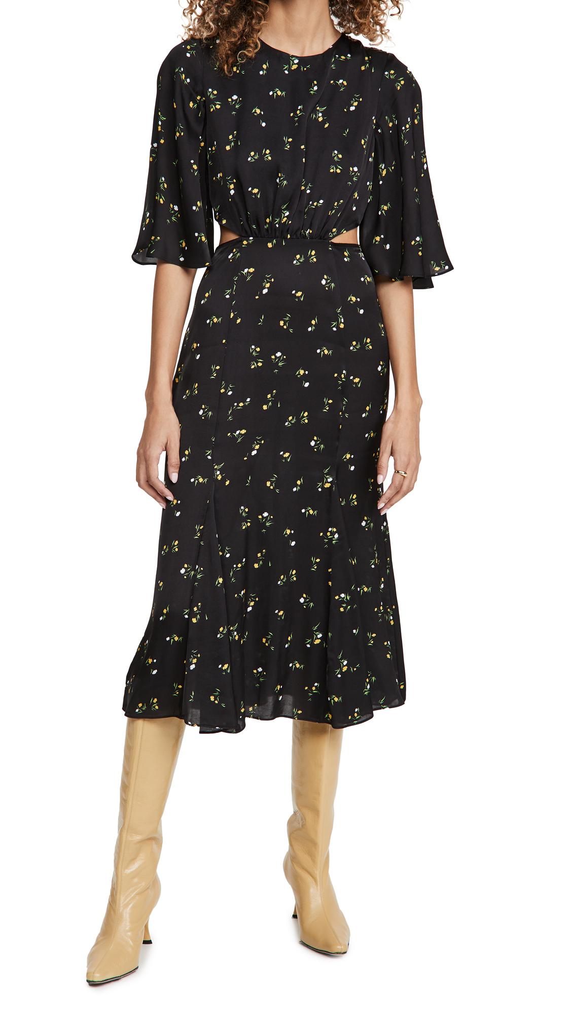 LES REVERIES Petal Sleeve Cutout Tea Dress