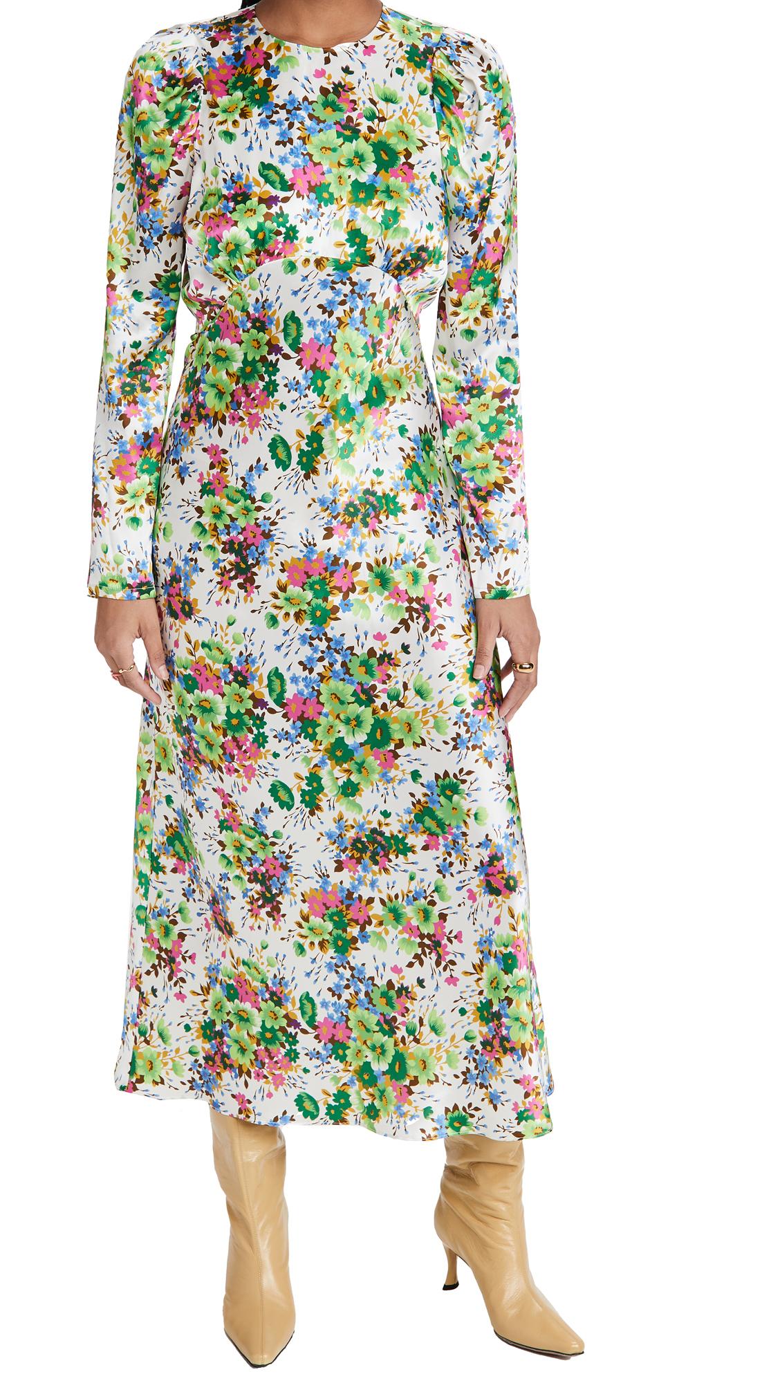 LES REVERIES Pleated Puff Sleeve Bias Dress
