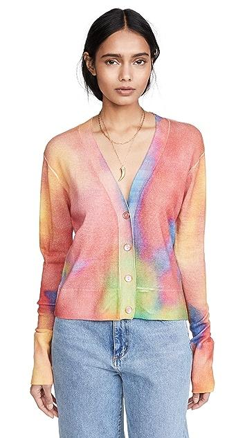 Le Superbe 扎染棕榈海滩开司米羊绒开襟衫