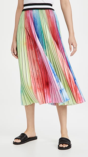 Le Superbe Watercolor Rainbow Pleated Skirt