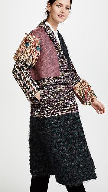 Leur Logette Mahlia Kent Tweed Pannel Coat