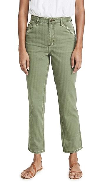 Модель Lee в стиле современный винтаж Джинсы до щиколотки Dungaree с высокой посадкой
