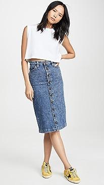High Rise Midi Skirt