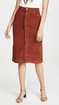 High Rise Midi Corduroy Skirt