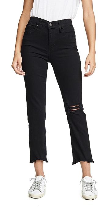 Levis 724 Straight Crop Jeans - Black Pixel