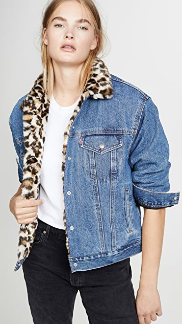 online for sale top-rated fashion big collection Oversized Reversible Faux Fur Trucker Jacket