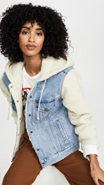 Ex-Bf Sherpa Sleeve Trucker Jacket