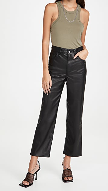 Levi's Faux Leather Rib Cage Straight Pants