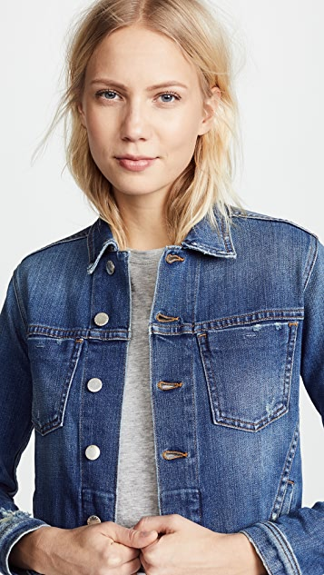L'AGENCE Celine Slim Fit Distressed Jacket