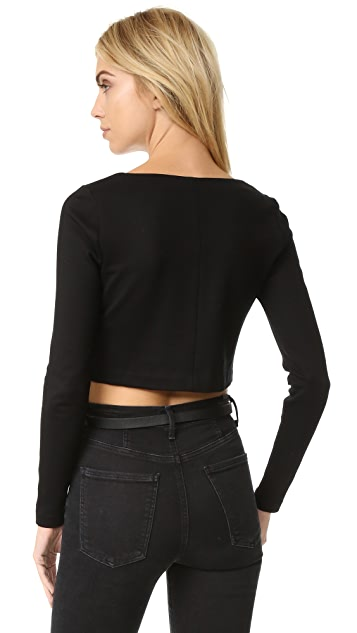 L'AGENCE Ava Cropped Lace Up Top
