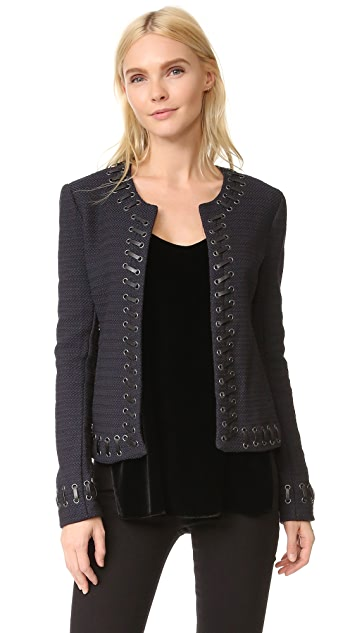 L'AGENCE Devereaux Leather Whipstitch Tweed Jacket