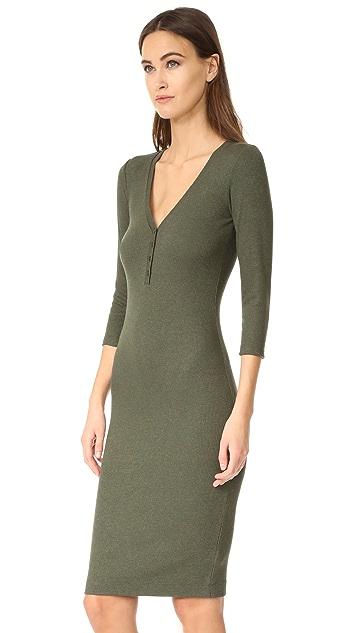 L'AGENCE Aurora Long Sleeve Henley Dress