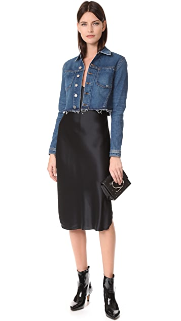 L'AGENCE Zuma Cropped Jacket with Studded Star