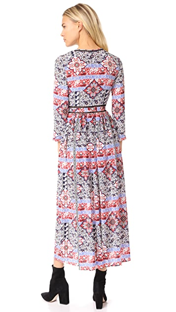 L'AGENCE Rosalia V Neck Maxi Dress