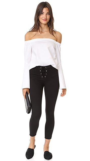 L'AGENCE The Cherie Lace Up Skinny Jeans
