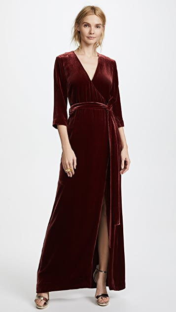 L'AGENCE Rosalind Maxi Velvet Wrap Dress