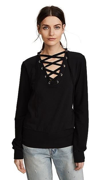 L'AGENCE Josilyn Lace Up Sweatshirt