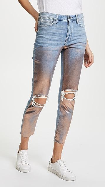 L'AGENCE Marcelle Slim High Rise Foil Jeans
