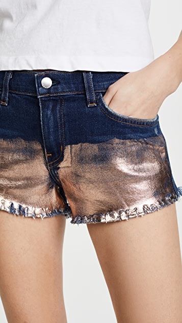 L'AGENCE Zoe Perfect Fit Foil Shorts