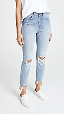 Highline High Rise Skinny Jeans with Hem Destruction