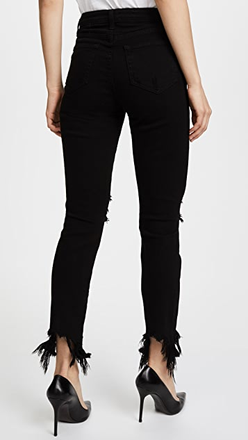 L'AGENCE Highline High Rise Skinny Jeans with Hem Destruction