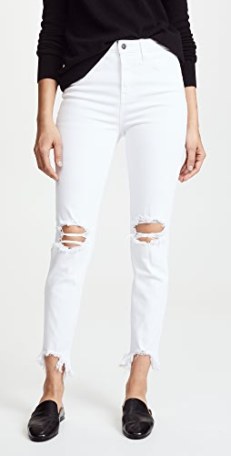 L'AGENCE - Highline High Rise Skinny Jeans with Deconstructed Hem