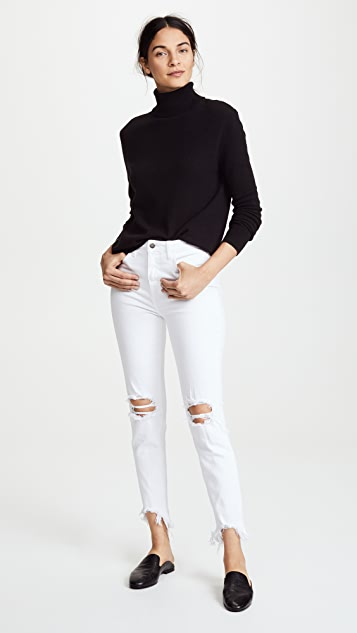 L'AGENCE High Rise Skinny Jeans with Deconstructed Hem