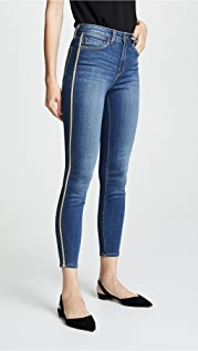 L'AGENCE High Rise Skinny Jeans with Metallic Trim