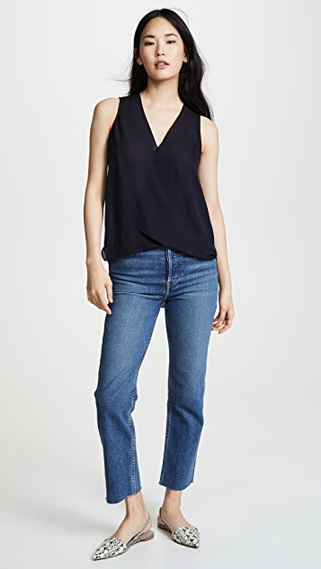 L'AGENCE Mila Draped Sleeveless Blouse