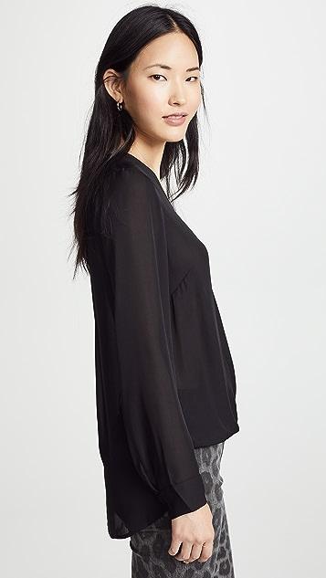 L'AGENCE Kyla 垂褶丝质女式衬衫