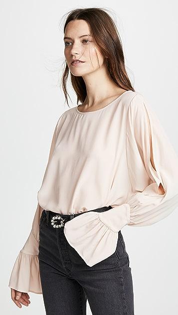 L'AGENCE Gianne Open Sleeve Silk Blouse