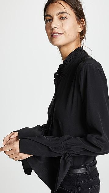 L'AGENCE Leyla Ruffle Collar Blouse