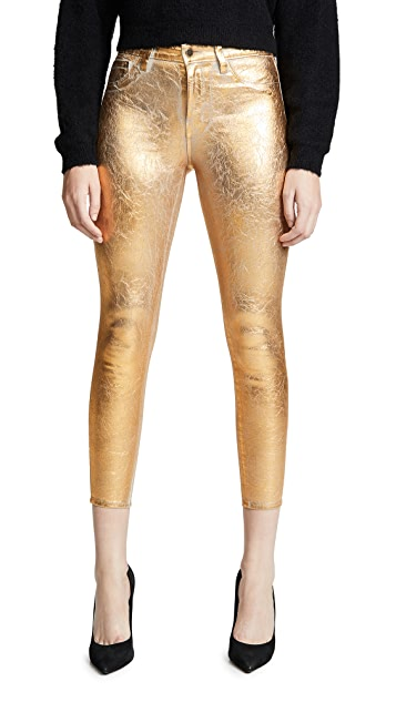 L'AGENCE Margot High Rise Skinny with Crackle Foil