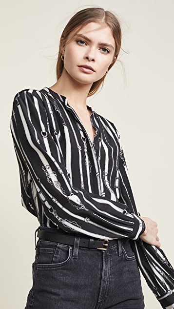 L Agence Bardot Band Collar Blouse