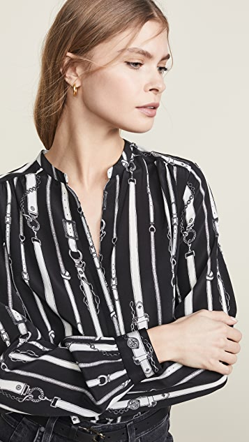 L'AGENCE Bardot Band Collar Blouse