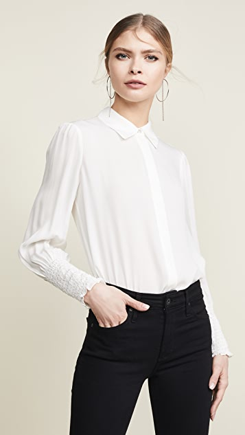 L'agence Tops Lucien Diamond Smocked Cuff Blouse