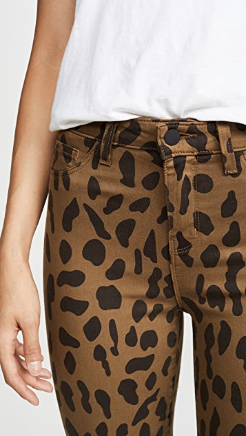 L'AGENCE Margot 斑点动物印花牛仔裤