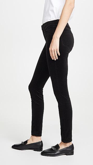 L'AGENCE Бархатные брюки-скинни Marguerite с высокой посадкой
