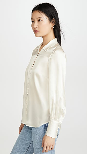 L'AGENCE Naomi Button Loop Blouse