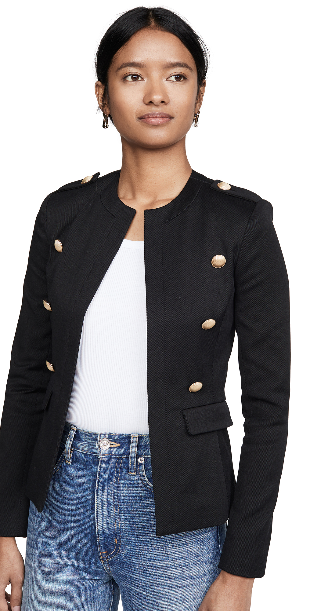 L'AGENCE Rye Military Jacket with Round Neck