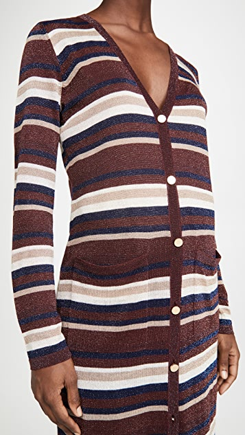 L'AGENCE Metallic Stripe Cardigan