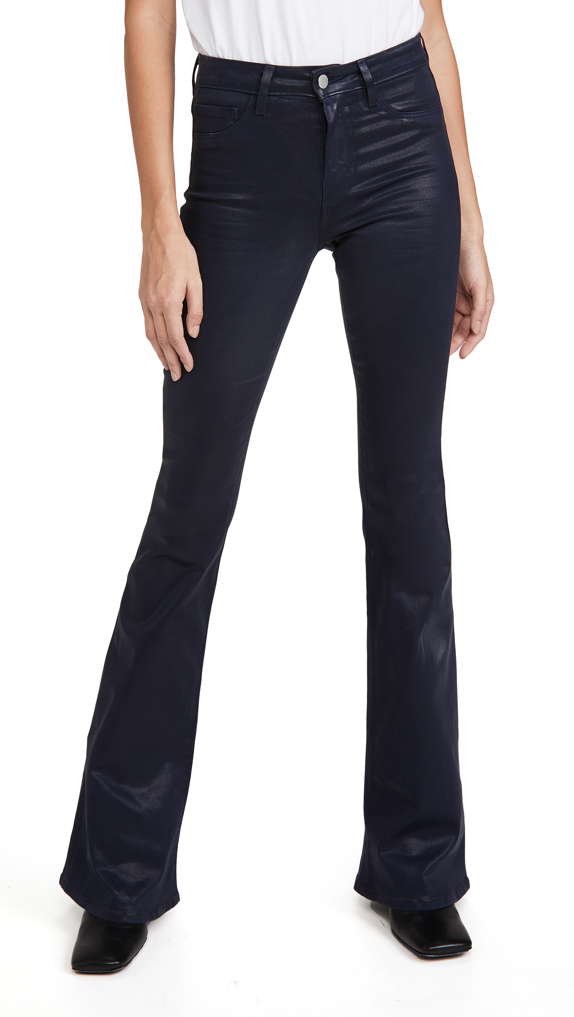 L'AGENCE Bell High Rise Coated Flare Jeans