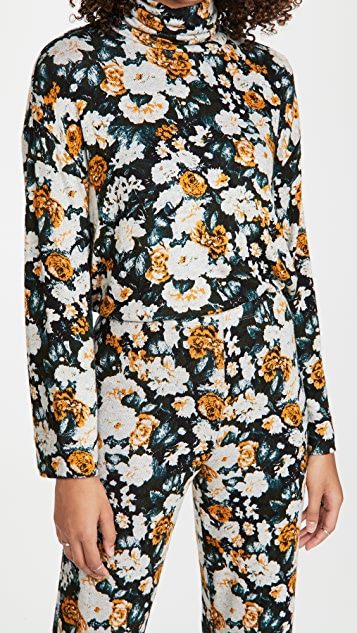 Leset Lori Floral Brushed Turtleneck