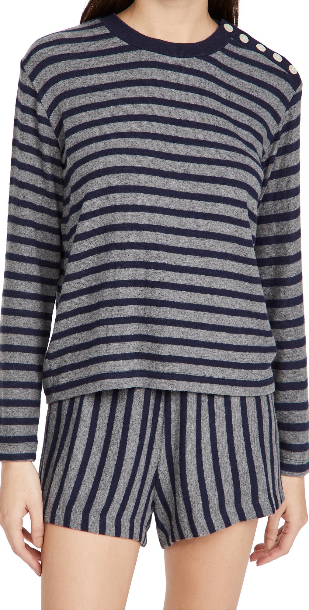 Lori Stripe Button Crew Neck Sweater