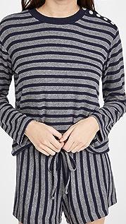 Leset Lori Stripe Button Crew Neck Sweater