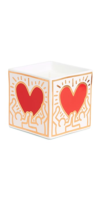 Ligne Blanche x Keith Haring Heart Square Candle - Red/Gold